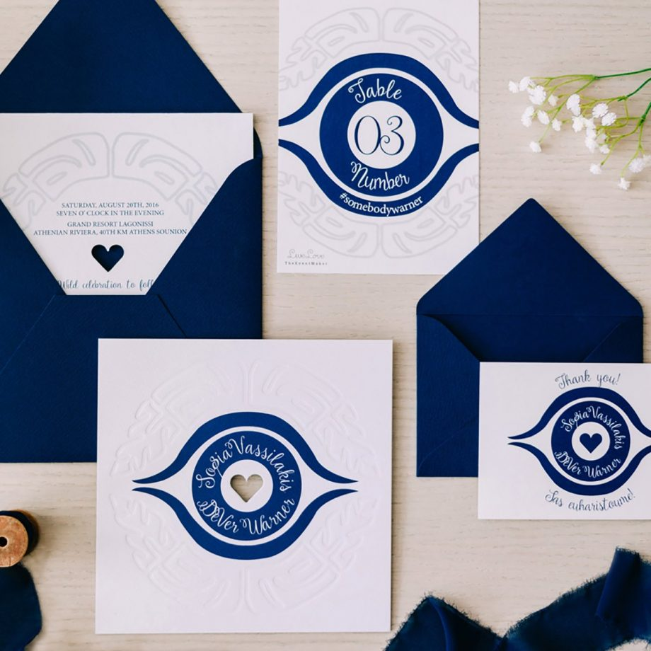 Greek Evil Eye Wedding Invitation