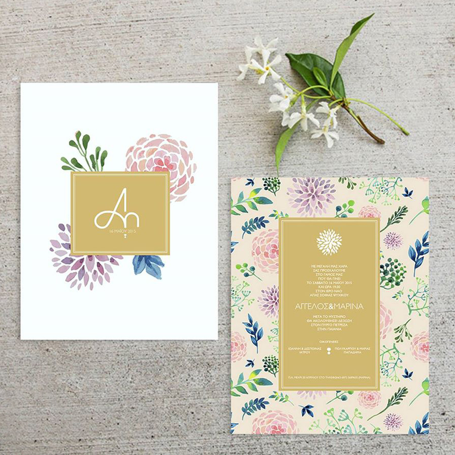 invitation with floral design