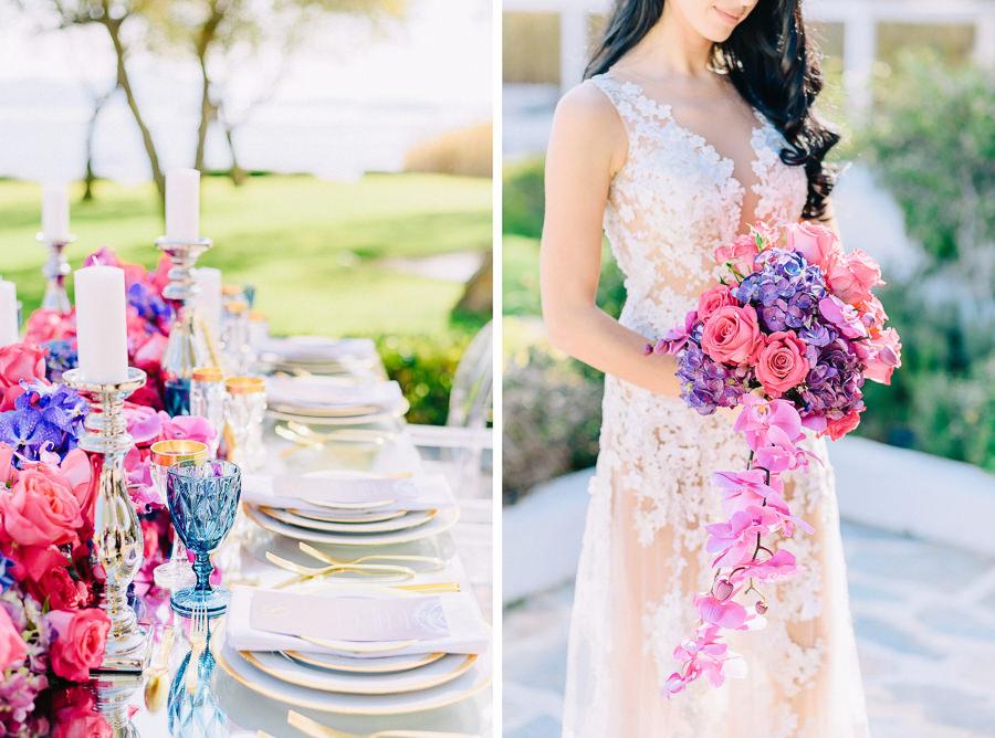Island Club φωτογράφηση θέμα πολύτιμοι λίθοι διακόσμηση γάμου λουλούδια