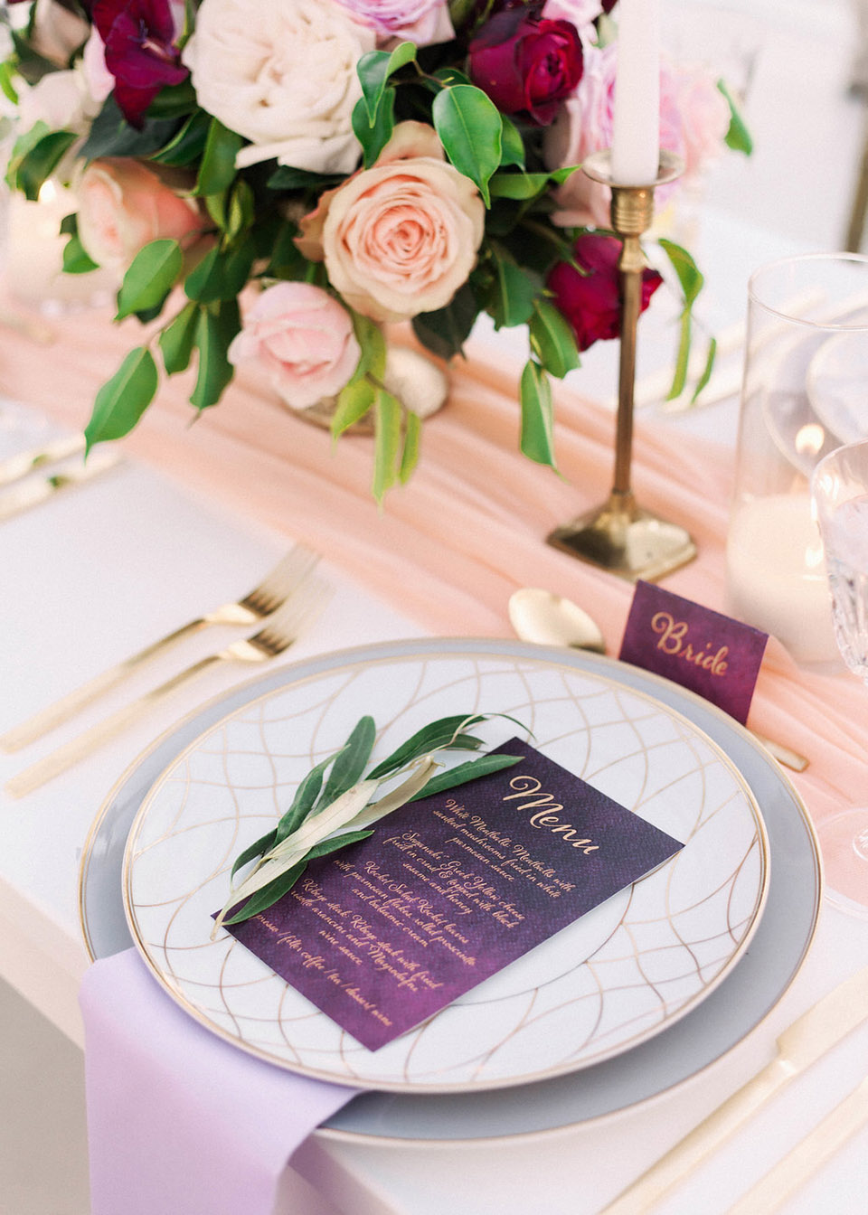 Gold Foil Wedding Menu and Place Cards