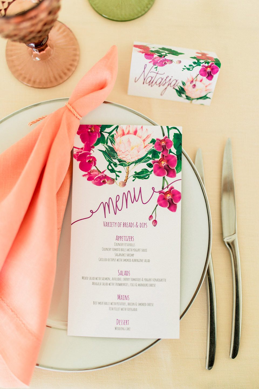 Modern wedding reception Menu and place cards