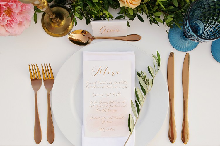 Romantic wedding menu and place cards