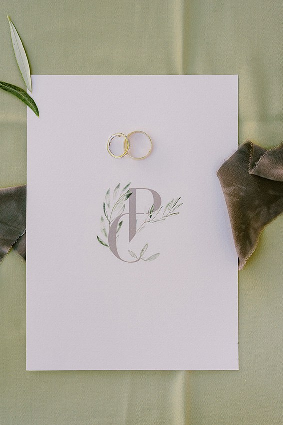 Olive leaves wedding logo
