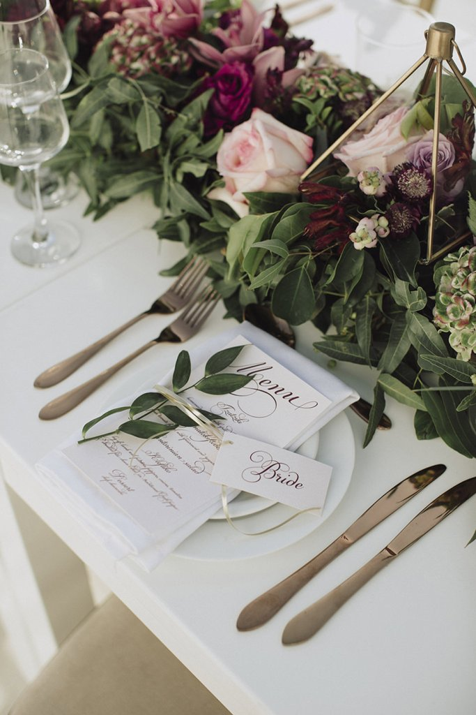 wedding reception menu and place cards with modern calligraphy