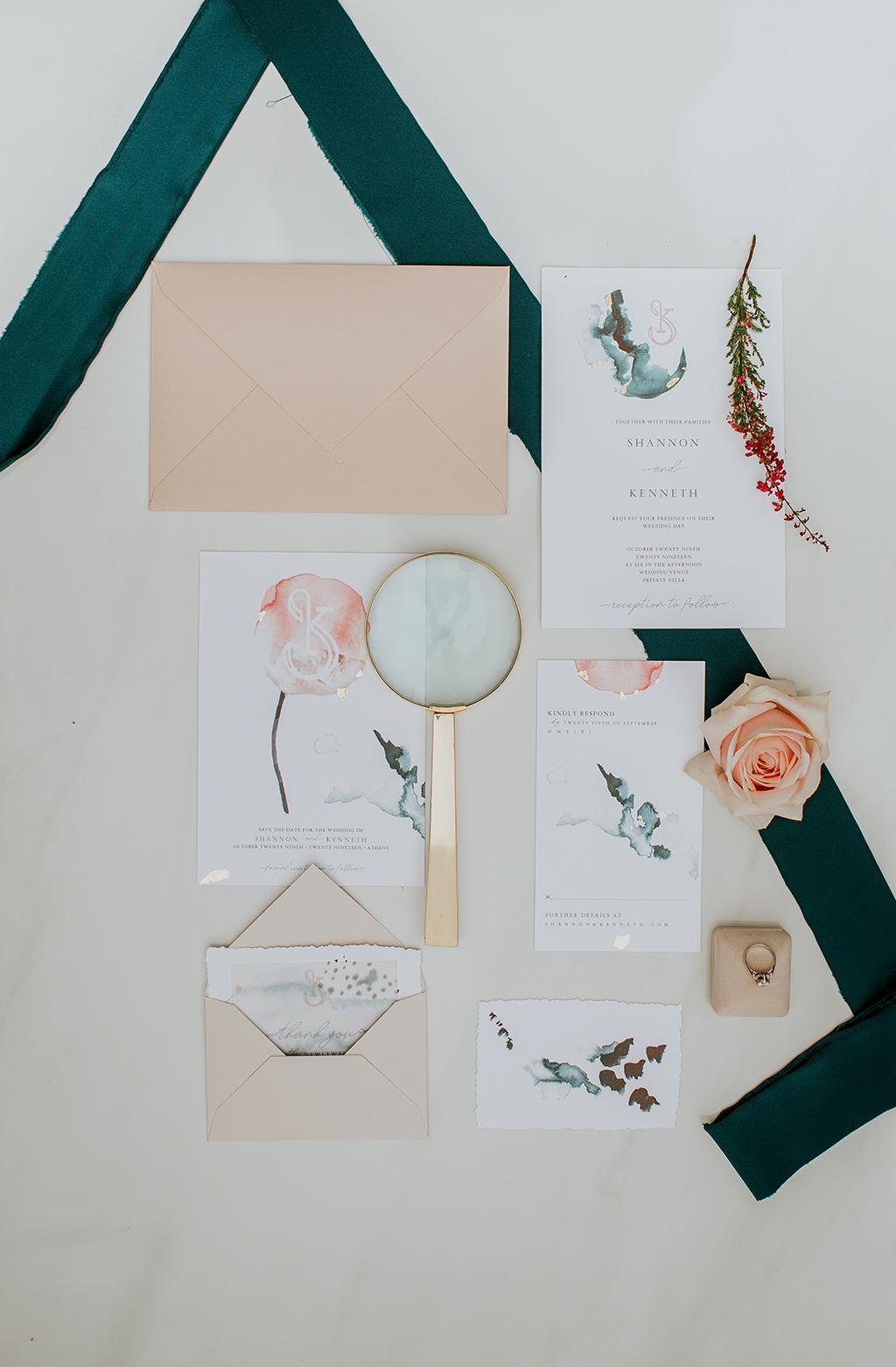 προσκλήσεις γάμου με ακουαρέλα