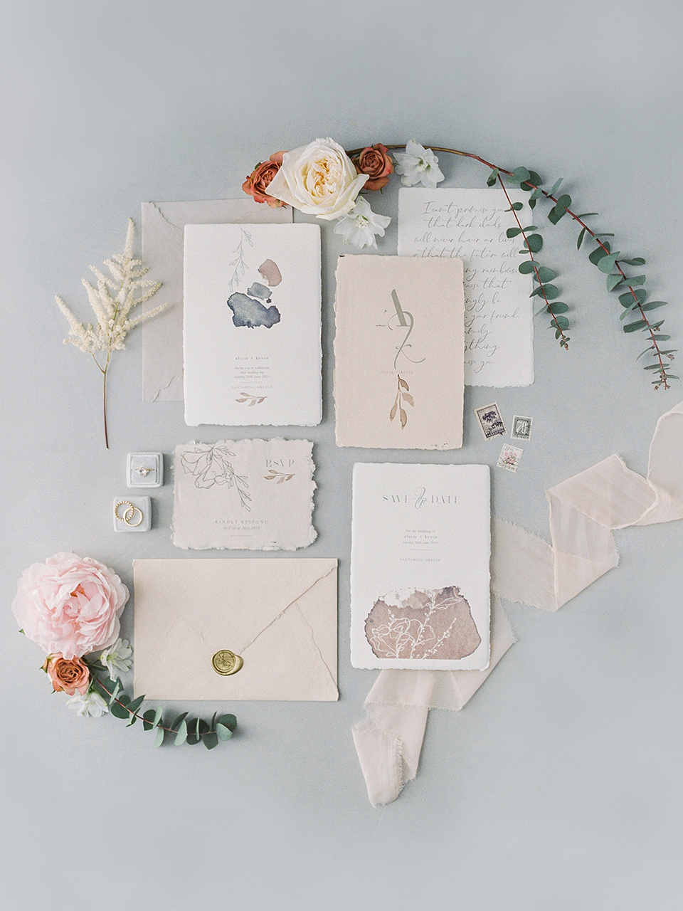 wedding stationery for an elopement in santorini
