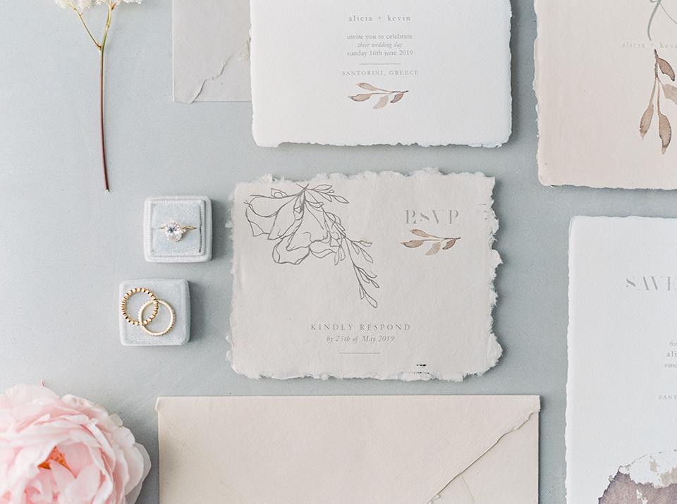 wedding stationery RSVP for an elopement in santorini