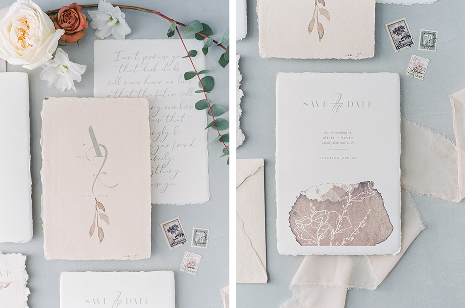 wedding invitation save the date for an elopement in santorini