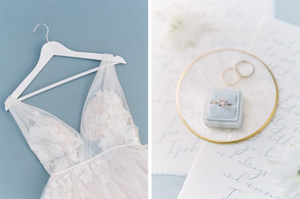 wedding dress, wedding rings for an elopement in santorini