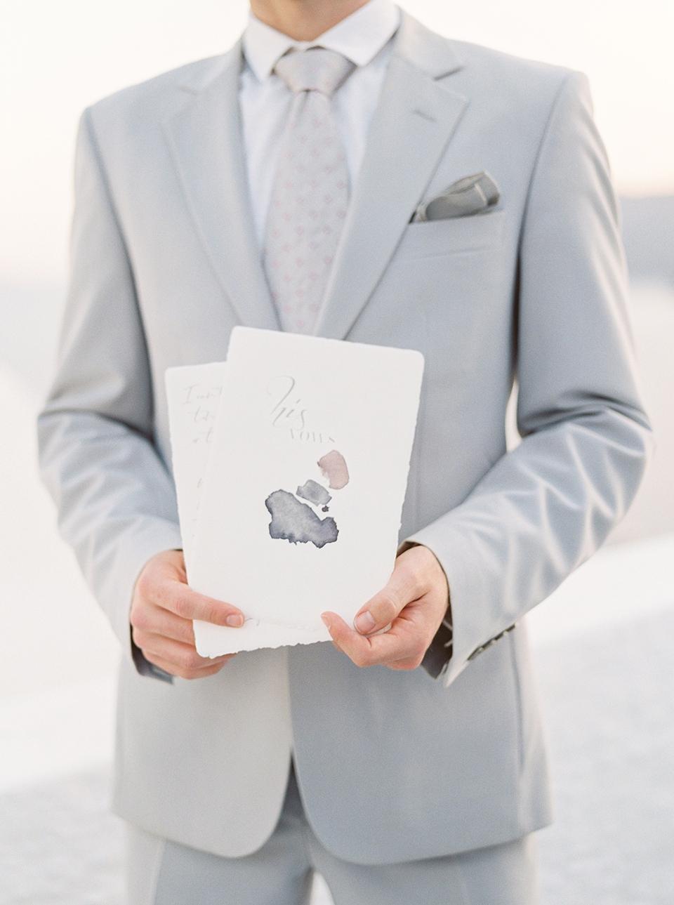 groom wedding vows for an elopement in santorini