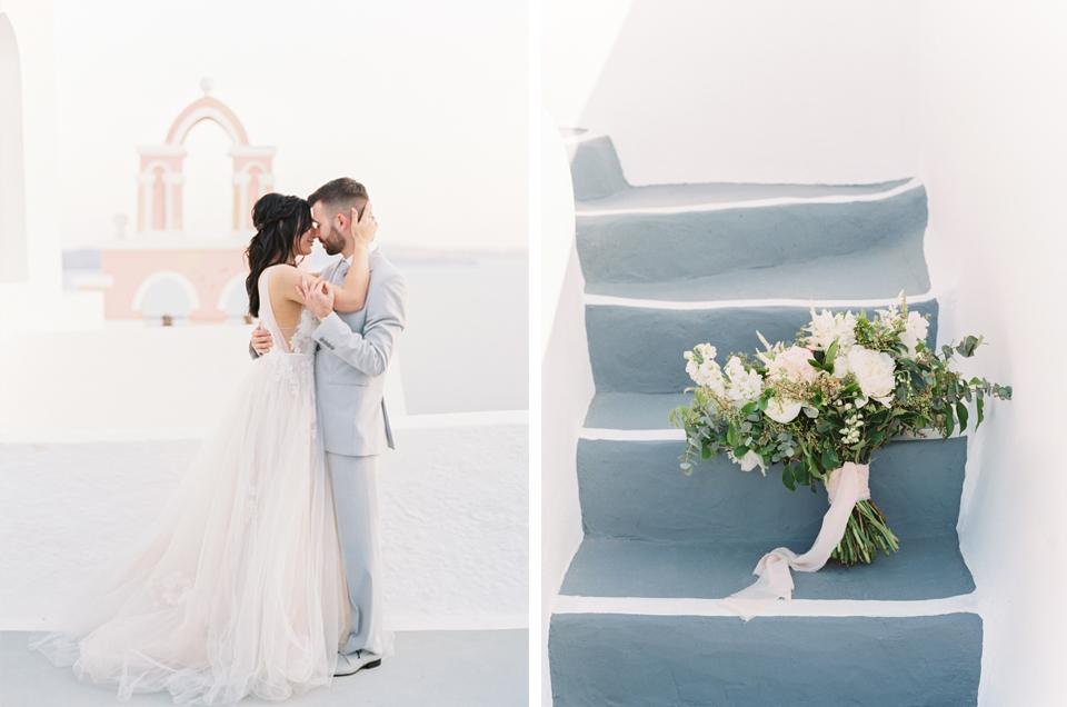 couple photos in santorini elopement